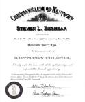 Kentucky Colonel certificate